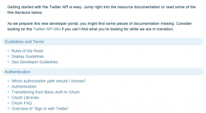 Twitter API docs table of contents