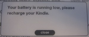 Kindle low battery message